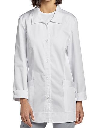 WH-2415-White Cross 32.87 Inches Women's Four button Twill Labcoat