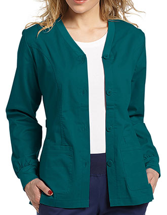 WH-949-White Cross Allure 27 Inch Women's Button Front Stretch Jacket