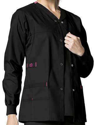 WI-8108-Wonderwink WonderFlex 28.75 Inch Women's Constance Snap Front Warm-up Jacket