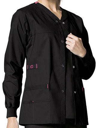 WI-8108-Wonderwink WonderFlex 28.75 Inch Women's Constance Snap Front Warm-up Jacket