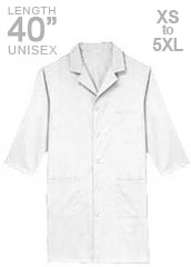 XL-1021-40 inch Three Quarter Sleeves Unisex Long White Medical Lab Coats