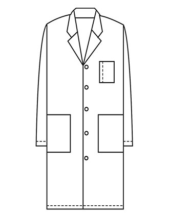 XL-1024-Made To Order Unisex 40 Inch Snap Front Long Lab Coat