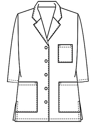 XL-1025-Made To Order Unisex 32 Inch Button Front Short Lab Coat