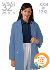 XL-1025-Button Front Three Quarter Sleeves Unisex Short Colored Lab Coat