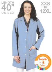 XL-1031-40 inch Stain & Water Repellant Unisex Long Color Lab Coat