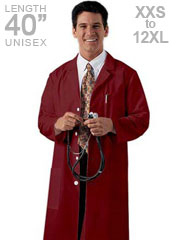 XL-1032-Three Pockets 40 inch Twill Unisex Long Colored Lab Coat XXS-10XL