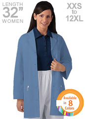 XL-1033-Three Pockets 32 inch Short Twill Women Colored Lab Coat