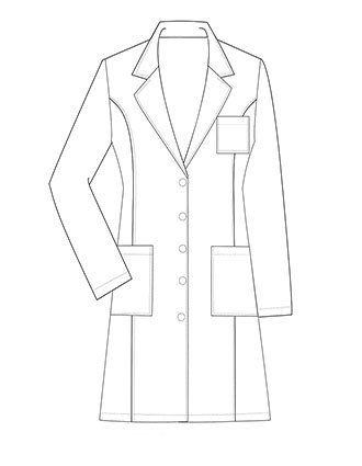 XL-1037-Made To Order Women's 37 Inch Notched Lapel Collar Lab Coat