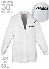 XL-1302F-Free Embroidery 30 Inch Three Pockets Womens Short Medical Lab Coat