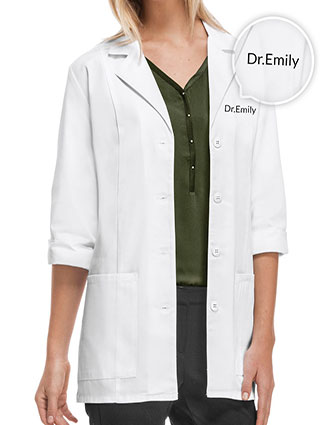 XL-1470F-Free Embroidery Cherokee 30.5 Inch Women's Three Quarter Sleeve White Lab Coat