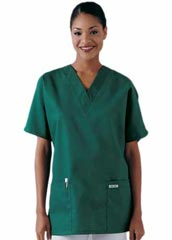 XL-4002-Women V-neck Two Pockets Tunic Nurse Scrub Top