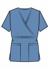 XL-4035-Women Two Patch Pockets Mock Wrap Nurse Scrub Top