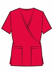 XL-4036-Women Mock Wrap Two Pockets Nurse Scrub Top