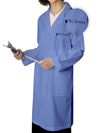 XL-80306F-Free Embroidery Adar 39 Inch Unisex Ceil Blue Multiple Pocket Medical Lab Coat