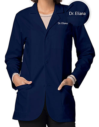 XL-805F-Free Embroidery Adar 30 Inch Unisex Three Pocket Consultation Short Lab Coat
