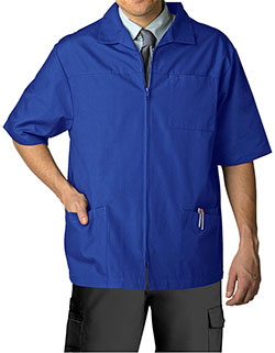 Adar 29 Inch Men Zippered Short Sleeve Colored Medical Scrub Jacket