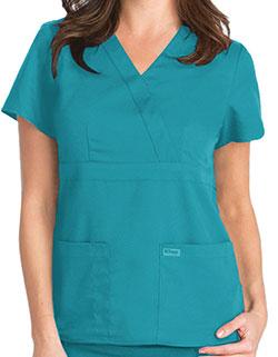 Grey's Anatomy 25.5 Inch Women's Mock Wrap Nurse Scrub Top