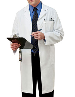 Meta 40 Inch Men's White Lab Coat