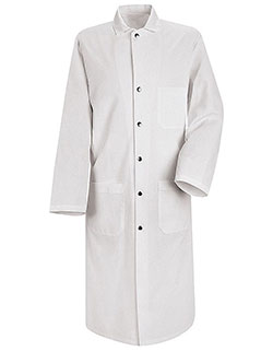 Red Kap 45 Inch Men's Three Pockets Snap Front Butcher White Lab Coat