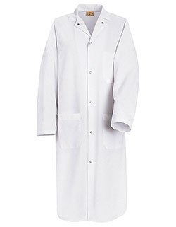 Red Kap 44.75 Inch Gripper Front Men White Butcher Wrap Lab Coat