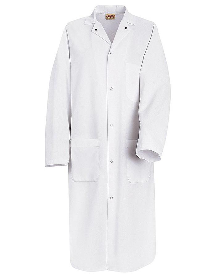 Red Kap Ks64 Men S 44 75 Inch Gripper Front White Butcher Wrap Lab Coat