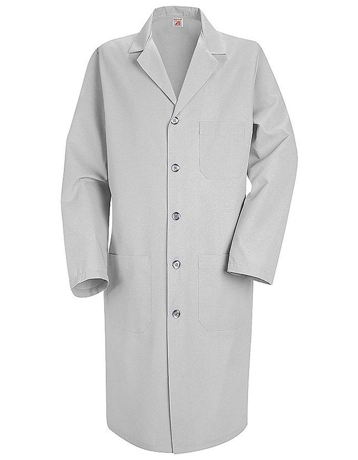 Red Kap Men 41.5 inch Button Front Grey Medical Lab Coat