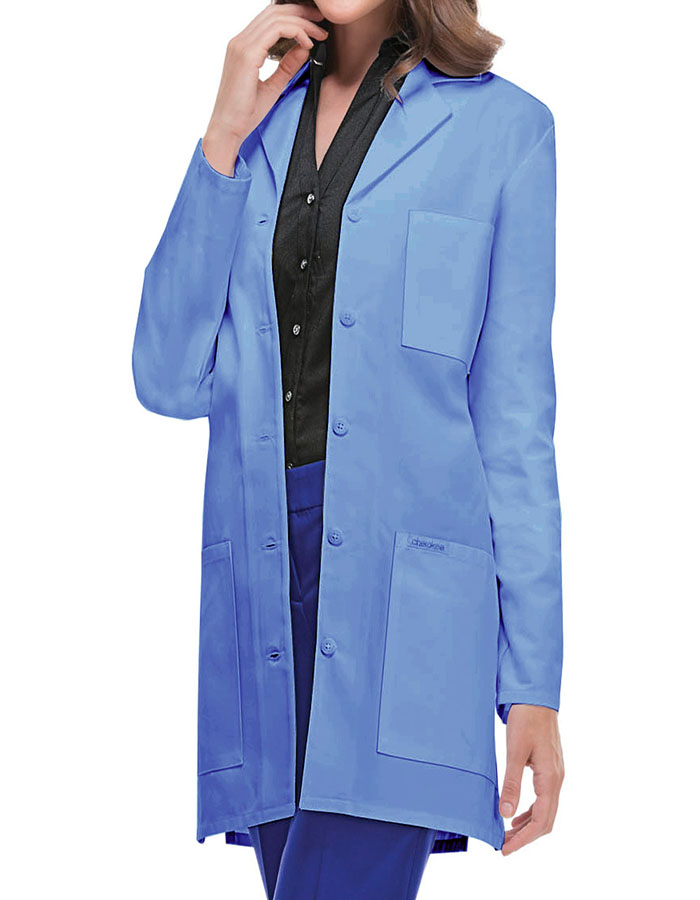 Three Pockets 32 Inch Short Twill Women Colored Lab Coat